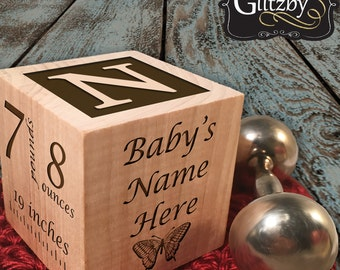 Personalized Baby Block with letter Top cherished keepsake with baby name