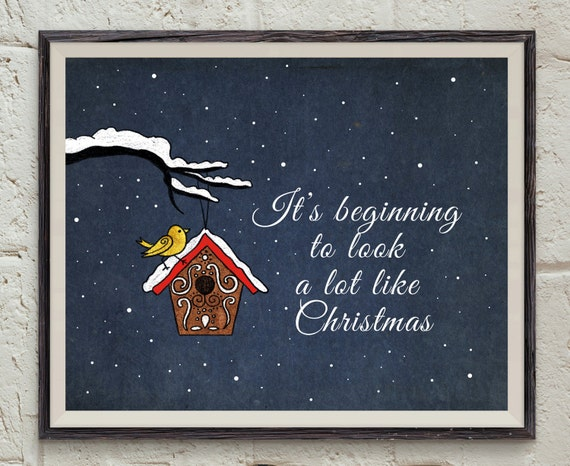 Ordinaire Christmas Quote Wall Art   Snowfall Print   Birdhouse Printable   Gold Bird  Art   Christmas Printable   Xmas Card   Winter Holiday Decor