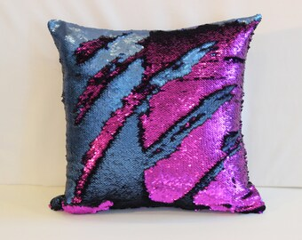 Aqua and Purple Mermaid Pillows, Sequin Pillows Cover, Pillow, Throw Pillow, Luxury Sequin Pillows