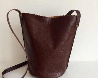 Brown Leather Bag, Brown Crocodile Leather Cross Body Bucket Bag