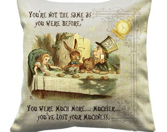 Alice In Wonderland Cushion, You were much more muchier, Mad Hatter Tea Party ((((cover only))))