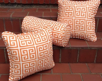 Set of 3 Pillows, 1 Neck Roll and 2 Square, Towers Orange Geometric