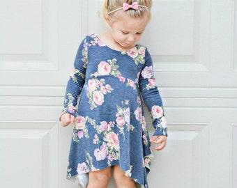 Charcoal Floral boheme style dress