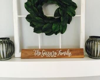 WALNUT WOOD Family Established Sign, Wedding Sign, Family Sign