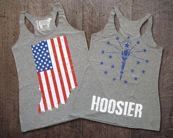 Indiana American Flag Hoosier Ladies' Racerback Tank