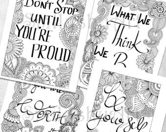 Set Of 4 Coloring Motivational Quotes Printable Zentangle PDF Book Positive