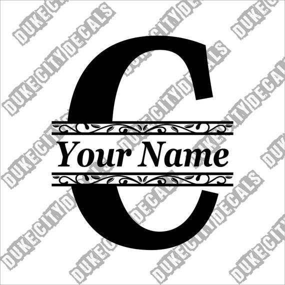 letter c initial monogram family name vinyl decal sticker
