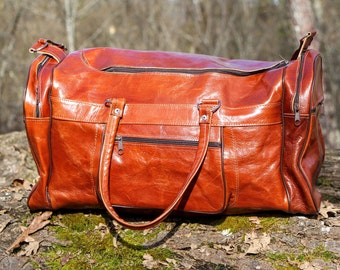 Travel bag, cabin or sport leather vintage Brown Tan, entirely handmade