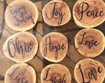 Wood Magnets Wood Slice Inspirational Gifts Choose One, Motivational Fridge Magnets Wood Signs Script Typography Art Refrigerator Magnet
