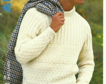 pdf Mens Textured Sweater Knitting Pattern.