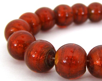 19 Artisan Made Silver Lined Glass Lampwork Beads - Ruby Red - Round - 12mm