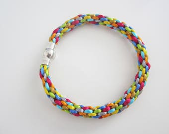 Braided bracelet, bracelet multicolor bracelet kumihimo, young gift girl, birthday gift, jewelry son satin rat tail braided