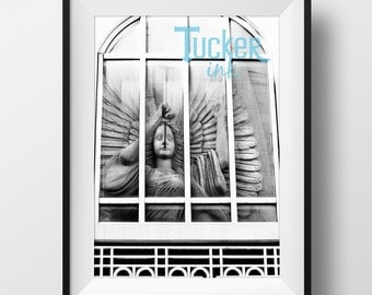 Fort Worth, Texas Bass Hall Reflection {print wall art photo photography downtown angel sundance square black and white}
