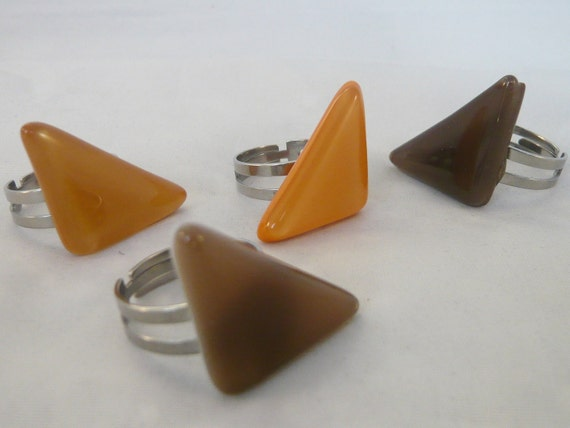 Triangular statement ring, Brown, Orange triangle adjustable steel ring,  handmade fused glass, Unique, Nickel free, does not discolour