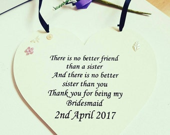 Thank you gift for sister/bridesmaid.