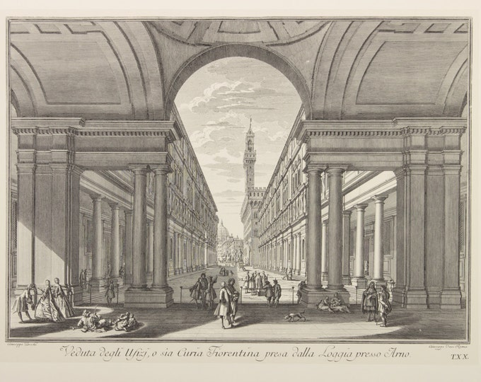 "Engraving ""View of the Uffizi Gallery, Florence"" by Giuseppe Zocchi, 19 century"
