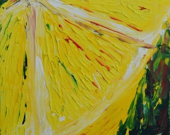 Original texured abstract lemon painting