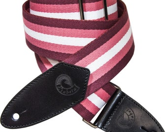 Guitar and bass Strap-shoulder fabric Etabeta and holders MULTISTRIPES Red leather