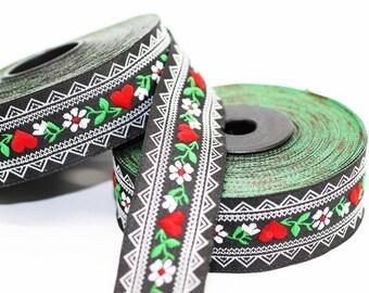 25 mm Black&White Heart Jacquard ribbon (0.98 inches) - jacquard ribbon - Floral Ribbon - Sewing trim - woven trim - embroidered ribbon