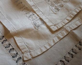 Vintage linen napkins/ open work napkins /