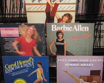 5 Vintage Vinyl Record Aerobic Workout Excersize Albums - Jane Fonda Carol Hensel Debbie Drake and Others