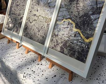 Set of 3 London Metallic Maps