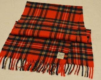Vintage Red Tartan Plaid Cashmere Scarf by YARROWVALE Rego - Plaid Cashmere Scarf Red  Plaid- Red Tartan plaid Scarf Woven in Scotland