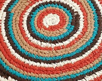 "Southwest/Santa Fe Handmade Toothbrush Rag Rug with Fringe 35"" Handmade Toothbrush Amish knot Rag Rug Recycled"