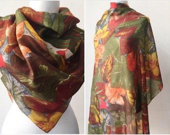 Silk scarf / Vintage scarf / Floral silk scarf / Silk shawl