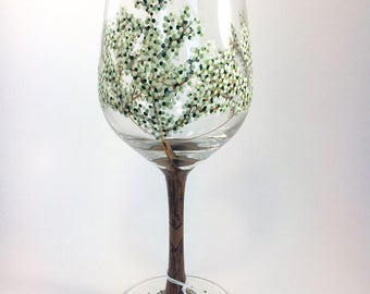 Spring Tree Wine Glass w/ White Blossoms