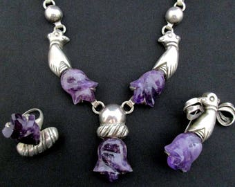 Mexican Silver and Amethyst Necklace/Ring/Pin Set WILLIAM SPRATLING *TB384