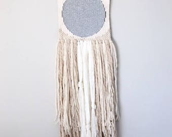 Silver Moon Woven Wall Hanging // Weaving // Boho Style // Fiber Art // Tapestry