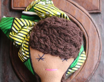 African Doll - African Teddy - African Toys - Multicultural Doll - Black Doll - Handmade Toy - Cultural Toys - African Orniment