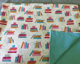 Handmade flannel blanket, reading theme!