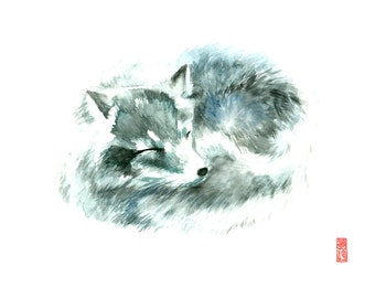 Arctic Fox Watercolor Fine Art Giclee Print / Wildlife painting / Animal watercolor