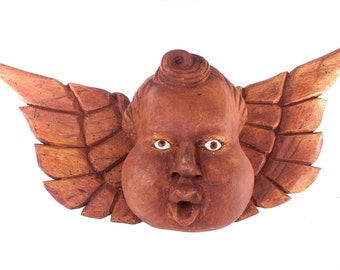 Angel, querubin, hand carved wood sculpture for indoor and outdoor decoration