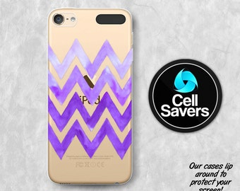 Purple Chevron Pattern Clear iPod 5 Case iPod 6 Case iPod 5th Generation iPod 6th Generation Rubber Case Gen Clear Case Watercolor Tumblr