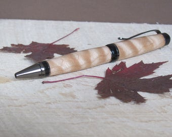 Large wood pen from beautiful curly maple with grey metal trim,twist style mechanism,hand turned,made in Montana,great graduation gift idea
