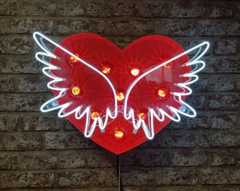 Set Your Heart Free - Neon Sign and Fairground Lights