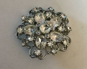 Large Brilliant Rhinestone Jewel in Metal Vintage Flower Shape Button Old