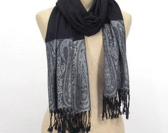10% OFF Flora Pashmina Scarf,Spring Scarf, Autumm Scarf, Fall Scarf, Oversize Cowl Scarf, Shawl, Women Scarves, Black & Gray scarf