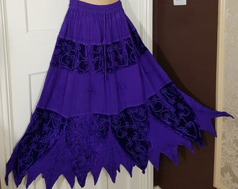 Ladies Autumn/Winter Long Zig Zag Pixie Hemline Skirt Velvet&Rayon PURPLE Embroidered and Braided  Gothic Hippie Freesize 16 18 20 22