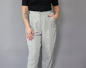 Vintage High-Waisted Pleated Pants - Super Comfortable!