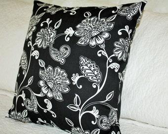 Black Valencia White Print Cushion Cover - 45 x 45cm