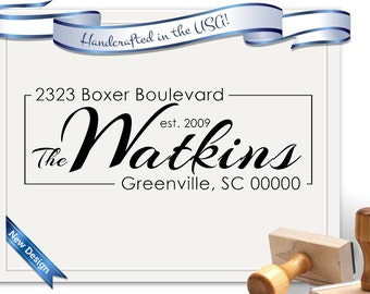 Modern Styled Return Address Stamp - PERSONALIZED FREE! Perfect for a Gift, Housewarming, Wedding & Christmas - SKU 1162