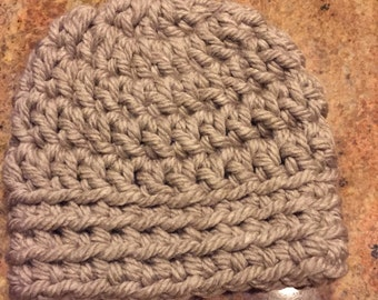 Oatmeal color adult winter hat