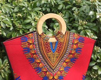 Red dashiki bag with wooden handles