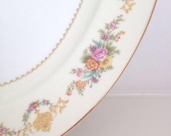 Large Serving Platter,Oval,Vintage Serving Platter with Gold Trim,Circa 1930's/1940's,Weddings,Parties,Holiday Dining,Hostess,Gift