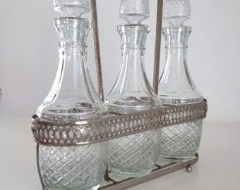 Vintage Oil and Vinegar Bottles, Cruet Set, Glass and Silverplate Carrying Caddy