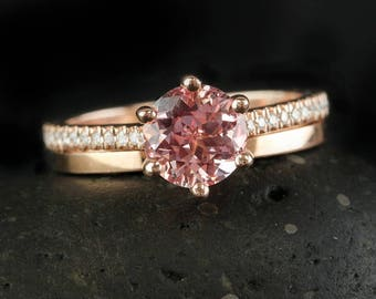 prong set pink sapphire engagement ring simple wedding band wedding ring set - Pink Wedding Ring